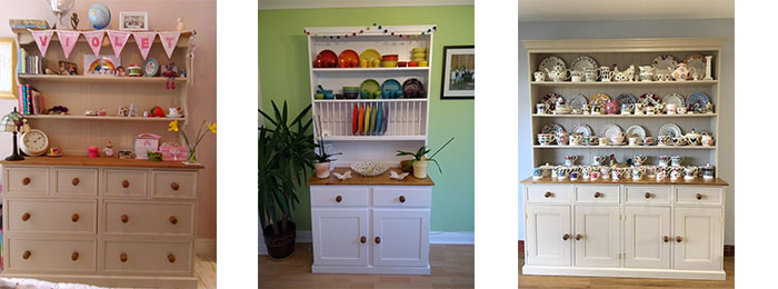 Painted Welsh Dressers made from sustainable wood